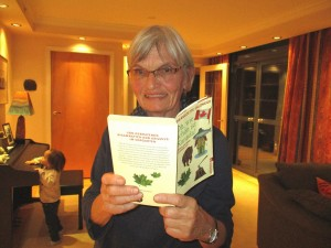 Ursula with one of my books.